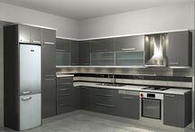 Σχέδια κουζίνας / Γωνιακή κουζίνα σε αποχρώσεις του Γκρι. Υλικό κατασκευής MDF με επικάλυψη PVC.