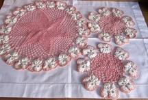 Crochet Dressing Table Sets / A selection of pretty Crochet Dressing Table Sets.  Visit my website for my own originally designed FREE crochet patterns www.patternsforcrochet.co.uk / by Patternsforcrochet