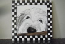 Hand painted dog portraits on tiles / Portrait of your dog , hand painted on a tile
