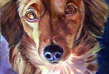 Dachshund Dog Art / My art of the Dachshund Dog.