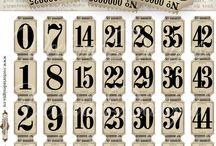 números vintage y palabras