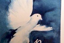 Watercolour Xmas cards