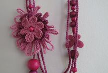 Crochet necklaces with beads