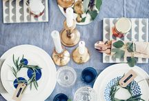 Decore : table setting white and blue