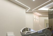 Ceiling lighting / Plaster circle ceiling lighting and architectural detail.