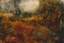 Warm Earth series - oil paintings by David Ladmore / Warm toned, ethereal, sheltering...a place to find peace, safety and solace. Landscape paintings in oil. Forest paintings. Abstract landscape paintings.