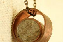 Concrete/copper jewellery