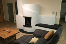 Masonry Stove with seating / Masonry Stoves / Rocket Mass Heaters where you want to sit down and enjoy the heat