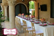Mothers day brunch in pink and orange