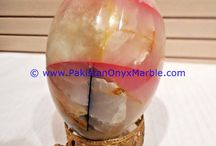 ONYX EGGS DECORATIVE COLORED PATCHWORK TUKRI ONYX HANDCARVED PAPERWEIGHT WITH STANDS