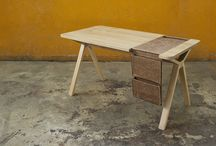 bolsa / desk / 2013 / mat. solid french oak wood & leather / size. w.144cm x d.72cm x h.75cm / w.56,7in x d.28,3in x h.30in / 'studio gud' for 'Wewood - Portuguese Joinery'.