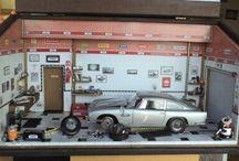 Diorama Oficina Carro Aston Martin Db5 - 007 - Escala 1:18 - Tamanho 48L x 26H x 22P - Personalizada