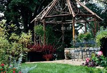 "Gazebos and Pergolas / Inspiration and ideas prior to building my own woodland pergola. These structures are open to the elements; see also, boards ""Love of Sheds"", and ""Hobbit Houses""."