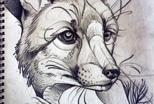 Inked: SteamPunk Fox / Fox faces, placements & steam punk ornaments