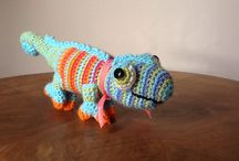 Karma the chameleon / Crochet , amigurumi. Jouet caméléon
