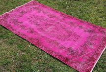 Vintage Overdyed Rugs / Vintage Traditional Turkish area rugs trimmed and overdyed with charming colours