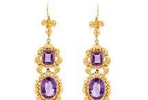 February Birthstones: Amethyst & Onyx / A board dedicated to February's birthstones, amethyst and onyx.