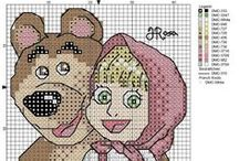 masza i niedźwiedź - haft krzyżykowy wzory