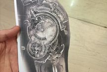 Steampunk clock tattoo