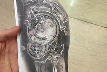 Steampunk clock tattoo