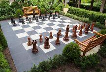 schaakbord in de tuin