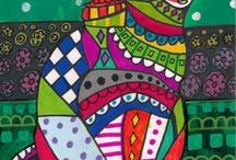 Heather Galler art / Bonte doodles van dieren