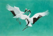 TIM HAYWARD - GLOW / Whether depicting the courtship rituals of Japanese Cranes or the determined dive of a Peregrine Falcon towards his prey, Tim Hayward approaches his subject with an accuracy born of years of study, and a dramatic intensity that is cinematic in spirit. Painted in watercolour and gouache, each bird soars against a rich and vibrant background, blending the figurative and abstract in a series that is as close to Warhol as it is to Audubon.