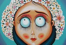 Metacartoon / #paintings, #art, #acrylic paintings, #big eye, #big eye strange girls, #big eye painting