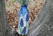 Galeria KaMi - decoupage jesienny i kolorowe bransolety / sztukateria, drugie życie przedmiotów, kolory jesieni i lawenda, korale żywicy i naturalne kamienie