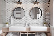 bathroom feature tiles