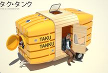 Taku Tanku mobile shelter / New York-based architects Stereotank in collaboration with Japanese designer Takahiro Fukuda created a mobile shelter made from two 3,000 liter water tanks.  Taku Tanku is very light. Carried by one or two persons or by a bicycle, by a car or potentially even by a boat, Taku Tanku is made out of recycled water tanks and can travel through many landscapes to serve as companion and shelter.