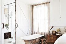 Bathrooms Design Ideas / Stunning & inspirational bathroom intetiors, monochrome,  metalics 's,  rustic wood, Modernist, Marble, concrete, geometric tiles, Mid Century & BoHo chic.
