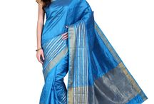 Parchayee Blue Solid Tussar silk Saree