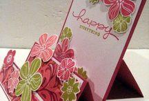 Pink die cut flowers birthday card stand up