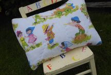 Beautiful Child's Quilted Vintage Cushion! / Child's Lavender Scented Quilted Vintage Cushion........quilted front with such vibrant colours, there's not another like it!........backed with a Vintage Linen Pink & White Gingham. Such a beautiful Lavender aroma!