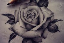 black and gray rose