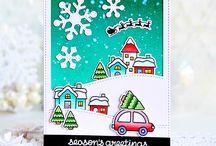 Card Christmas scene stamp