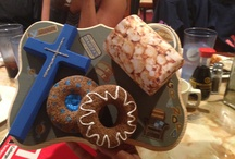 Papa's or Dad's favorite things / Styrofoam donuts, wooden cross, wooden plaque, foam and popcorn paper mug! HAPPY FATHERS Day