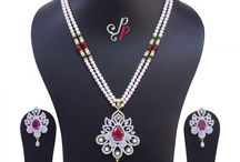 Luxury Pearl Necklace Set in Tiny Round White Pearls of Best Grade at Rs.6900