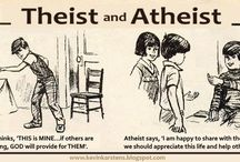 Theist and Atheist / My take on those old 'Goofus and Gallant' cartoons originally published in Highlights magazine and scattered in doctor's and dentist's waiting rooms across America when I was a kid...