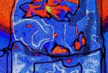 """E Bosch (Expresionismo digital) / Imágenes digitales procesadas digitalmente, posteriormente, se hacen intervenciones sobre el fondo manchado. Se añaden imágenes que no existían que se asimilan a determinadas íneas que encierran espacios """"especiales"""" en los que intuyo determinada figura o movimiento o elemento nuevo.  Las imágenes de este tablero están sujetas a uso restrinjido sólo a distribución online, para uso personal, o social sin ánimo de lucro. Existe otra resolución mayor para los pedidos."""