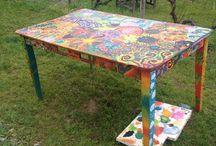 Table de jardin / Réccup table blanche en bois peinte à la gouache et vernis