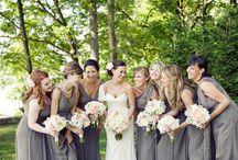 Bride & Bridesmaids   Bouquets   White, Grey & Pink