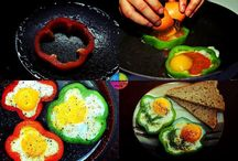 Sweet pepper rings with eggs