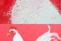 Collage in Red and White Themes / A selection of paintings with a Red and White Theme