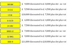 March Special Offers - Car Number Plates / 8 number plates with reduced prices till the end of March