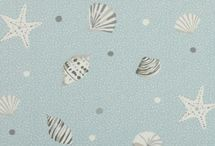 Clarke & Clarke Seashells / Clarke and Clarke vintage shabby chic seaside themed designer fabric, seashells a stunning collection in sand, marine, surf and mist colour-way.  The fabric has a fun, young, beach style.