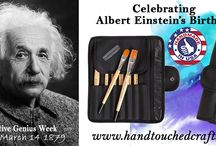 Celebration of Creative Genius / March 14 is Albert Einstein's Birthday, he had a lot interesting things to say about Creativity and Art. He believed that science and art were essentially the same. Although most of the quotations are not directly related to painting we believe everyone can find wisdom and inspiration in the words off the greatest genius of the 20th Century. http://www.handtouchedcrafts.com/products.html #Art #Creativity #Genius #Inspiration #Painting #Quotes #Einstein #Artists #Wisdom