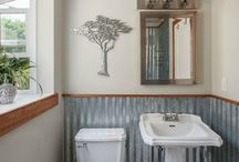 corrugated metal bathroom