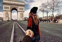 Follow me (Reverse Photography) / Man photographs his girlfriend around the world